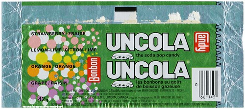 Bottle Caps Uncola Candy Wrapper - 1978
