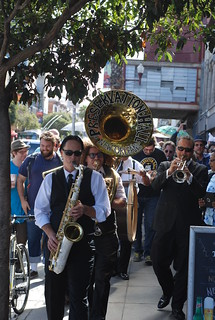 Members of the Preservation Hall Jazz Band play in the Mission