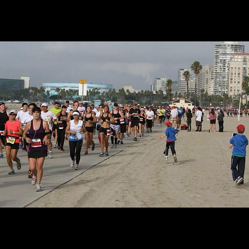My boys running to meet me  during the race #runlb