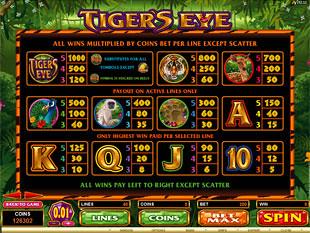 Tiger's Eye Slots Payout