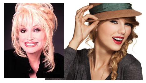 A picture of country singer Dolly Parton next to a picture of pop/country singer Taylor Swift