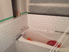 Tiling the small part of the family bathroom