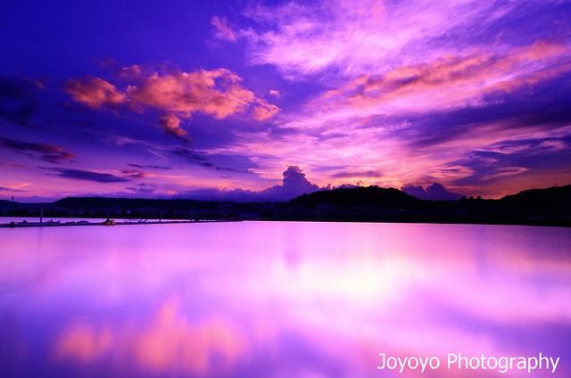 日落雲彩 微風運河