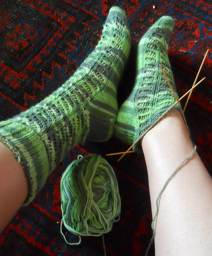 diagonal lace socks, still in progress