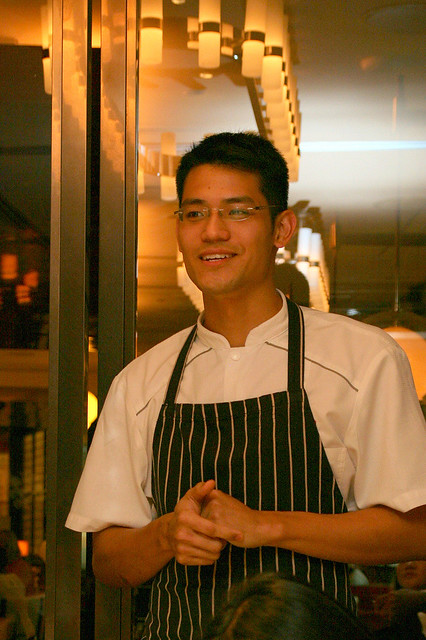 Executive Sous Chef Nicholas Tang giving us detailed descriptions of the dishes
