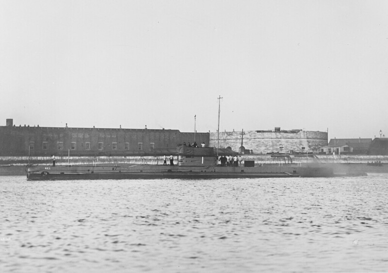 Mar. 2, 1914: Submarine AE1 departs Portsmouth on her delivery voyage - RAN, courtesy Ronnie Bell.