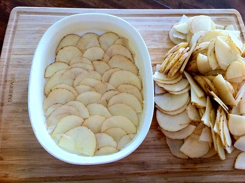 First Layer of Potatoes Layered in Dish