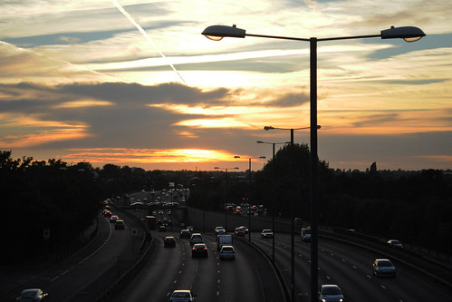 Sunset over the A40