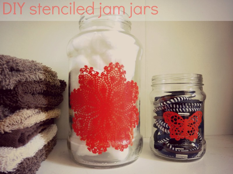 DIY jam jar Martha Stewart stencil project