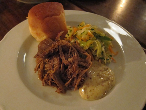 Pulled Pork with Cabbage and Apple Slaw, Mustard and Potato Bread