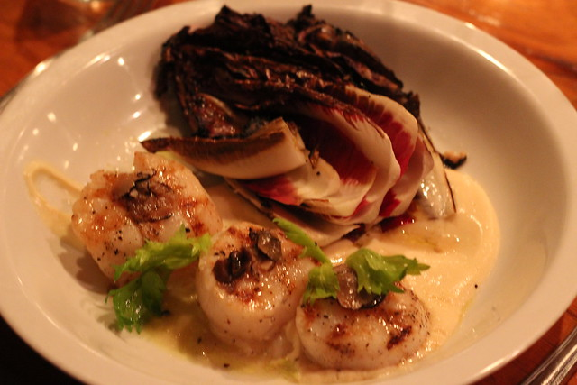 Seared Scallops with Truffles & Parsnip Puree at Blue Tavern
