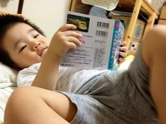 寝る前に絵本読むとらちゃん (2012/9/20)