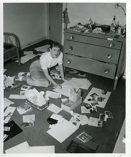 Student working on the Metate in a dorm room in 1957