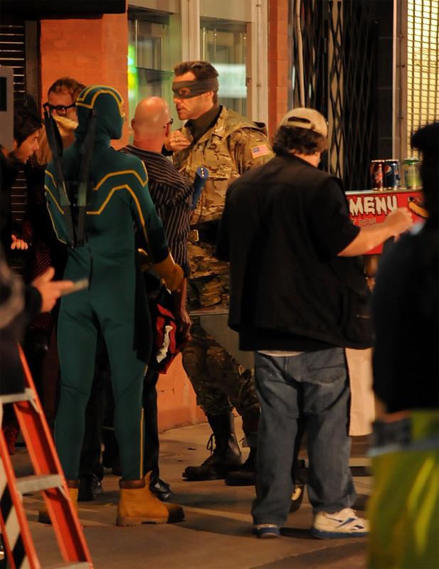 Jim Carrey on set of Kick Ass 2 filming on Toronto's Yonge st.