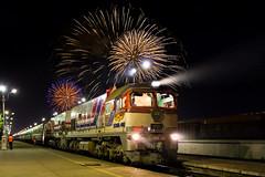 [Free Images] Transportation, Trains, Landscape - Mongolia, Fireworks ID:201210030000