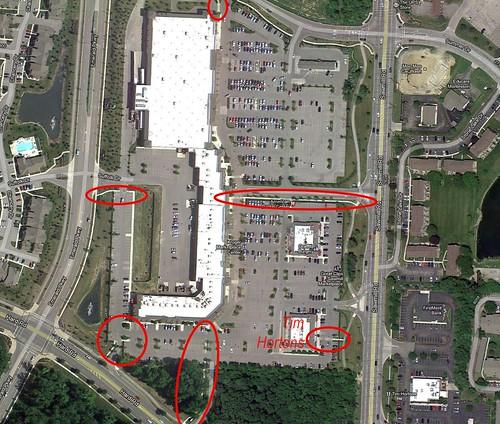 parking lot with walkways, Dublin OH (via Google Earth, marks courtesy of John Witrz)