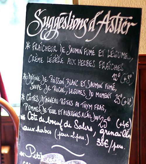 Astier menu