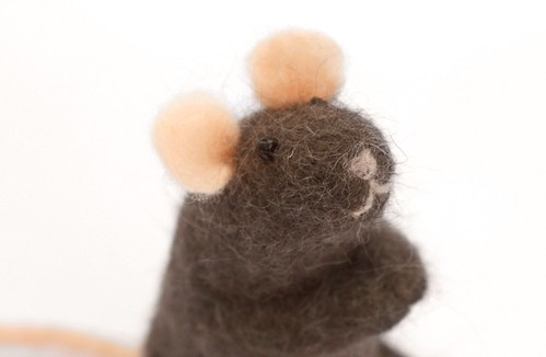 Needle Felted Mouse with Cat Hair and Wool ~ Handmade by Ginger Halverson