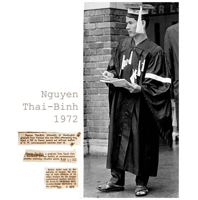 Washington 1972 - SV Nguyễn Thái Bình của Nam VN phát tờ rơi phản chiến tại lễ tốt nghiệp