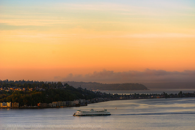 Ferry, West Seattle/Alki Beach & Puget Sound - by Michael Holden