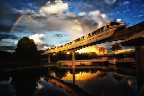 world sunset reflection canon golden epcot rainbow disney hour future monorail waltdisneyworld walt epcotcenter futureworld canonef2470mmf28l canoneos5dmarkiii epcot30