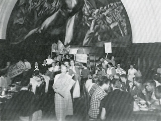 A counter-protest by women students in favor of the opening of Frary Hall to women in 1957