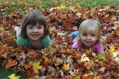 Lucy and Phoebe in the leaves