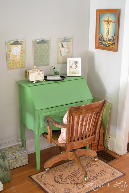 Green vintage secretary desk!