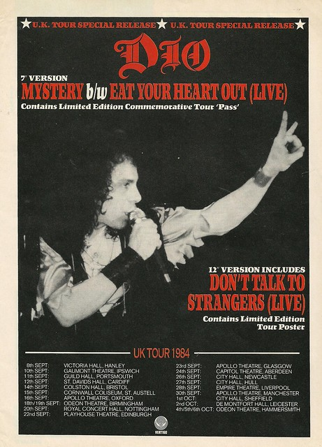 September - October 1984 Dio UK Tour Ad