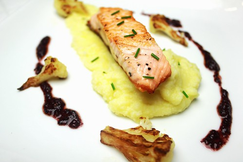 seared salmon with cauliflower mash and purple basil pesto