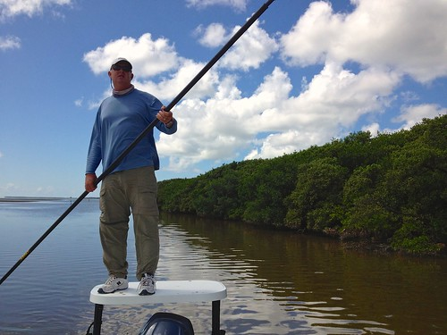 Captain Ted Wilson Poling the Boat in Snake Bight at Everglades National Park