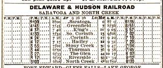 D-H Saratoga North Creek 1926 Schedule