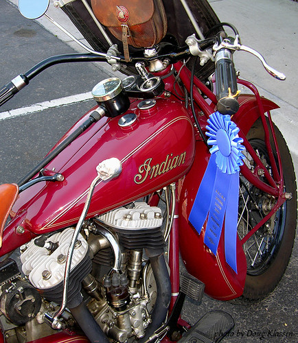 Indian motorcycle with blue ribbon