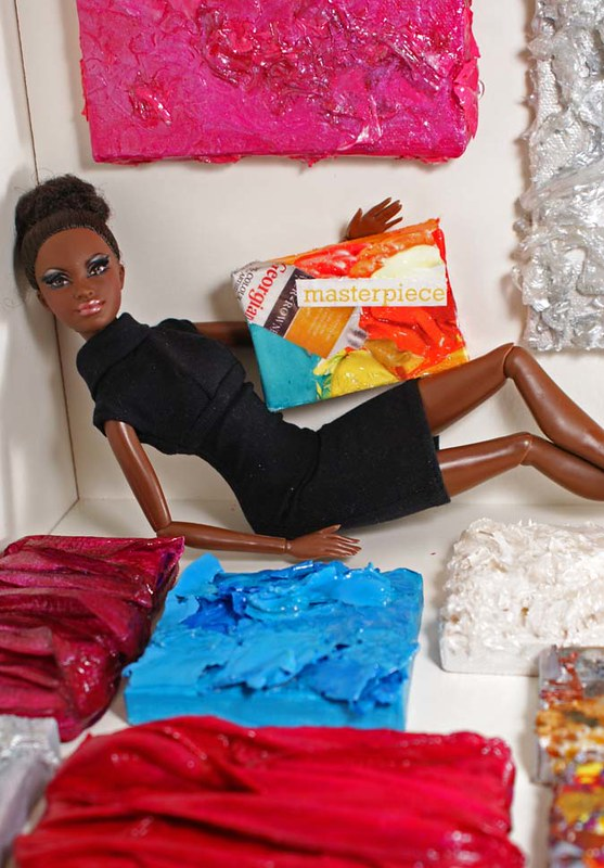 Alvin Ailey Barbie doll with miniature collages and paintings by Tiffany Gholar