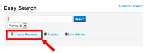 screenshot: course reserves link is directly under Easy Search box.