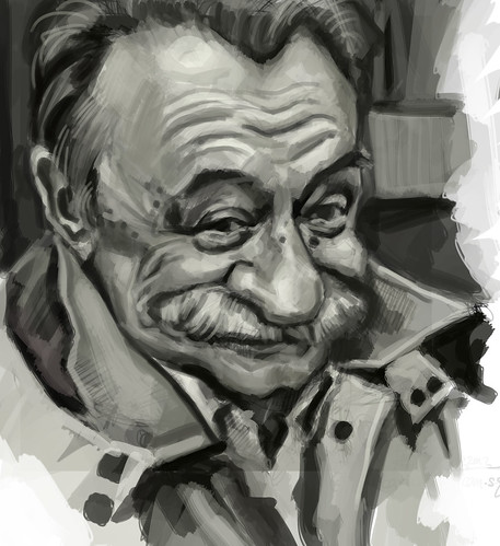digital caricature of Mario Benedetti - 2