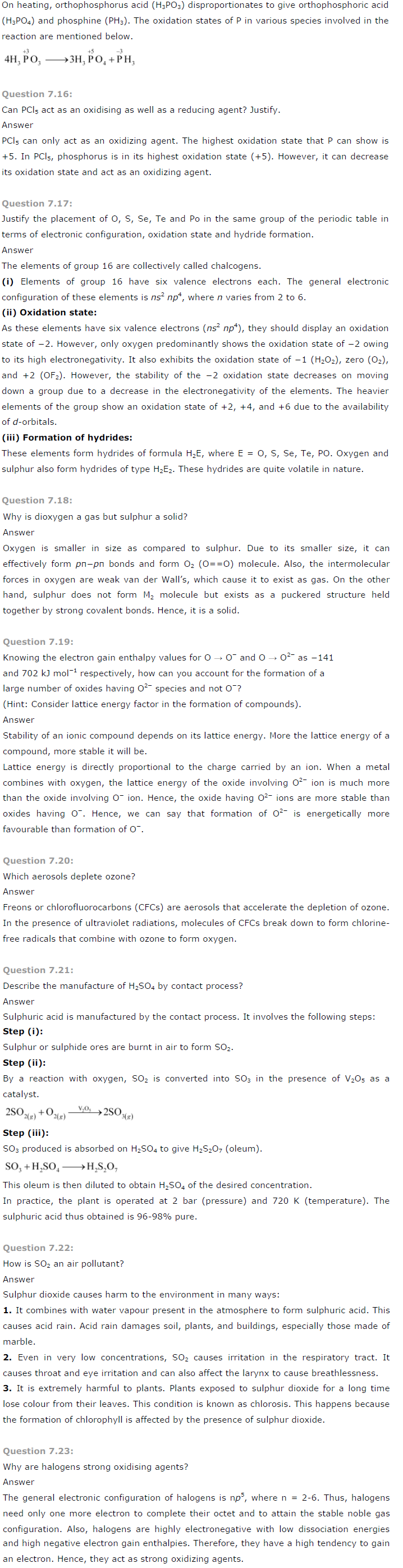 NCERT Solutions for Class 12 Chemistry Chapter 7 – The p Block