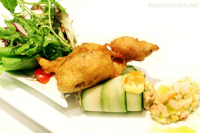 Soft-Shell Crab Fritters on Gribiche Sauce with Dungeness Crab, Mango and Cucumber Salad