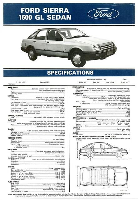 1984 Ford Sierra 1600 GL (South Africa)