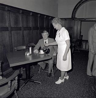 Premier Lougheed having coffee in the CNIB Cafeteria, Legislature Building.  March 1976.