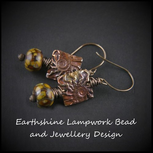 Copper Ammonite Lampwork Bead Earrings