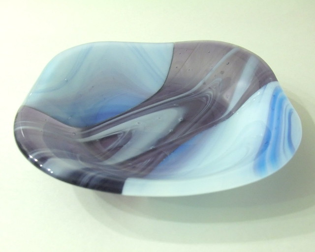 Pale purples and blues fused glass bowl