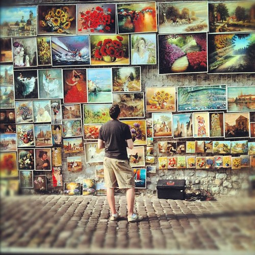 Wall of oil paintings in Krakow