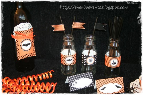 Flags y etiquetas botellines kit halloween  merbo events