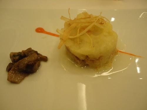 Zaragoza | El Chalet | Paté cremoso de patata y conejo en escabeche, puerro y hongos
