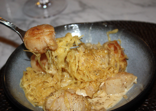 Scallops & Spaghetti Squash with Cream Sauce