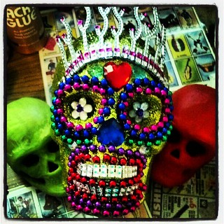 Working on some skulls for #vox gallery show on  October 13th! #sugarskull , #diadelosmuertos
