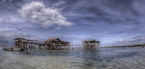 stilt houses panorama by Paul Cowell