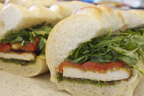 Chicken cutlet Sandwich with red peppers and arugula