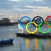 The Olympic rings and the O2 at dusk